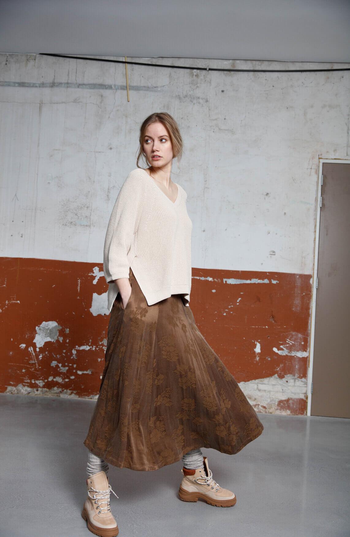 Moscow Dames Kadisya floral skirt Bruin
