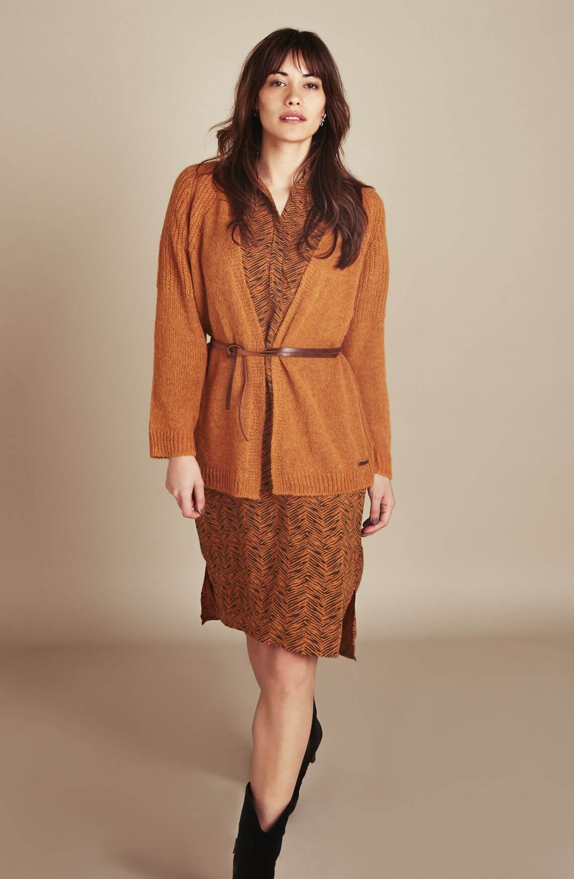 Moscow Dames Jalasha jurk Bruin