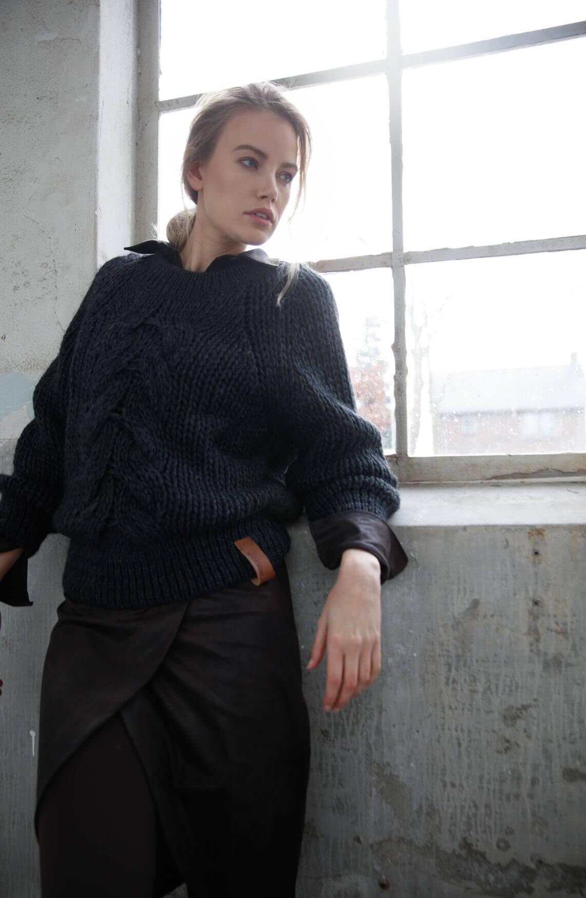 Moscow Dames Katya cable knit jumper Grijs