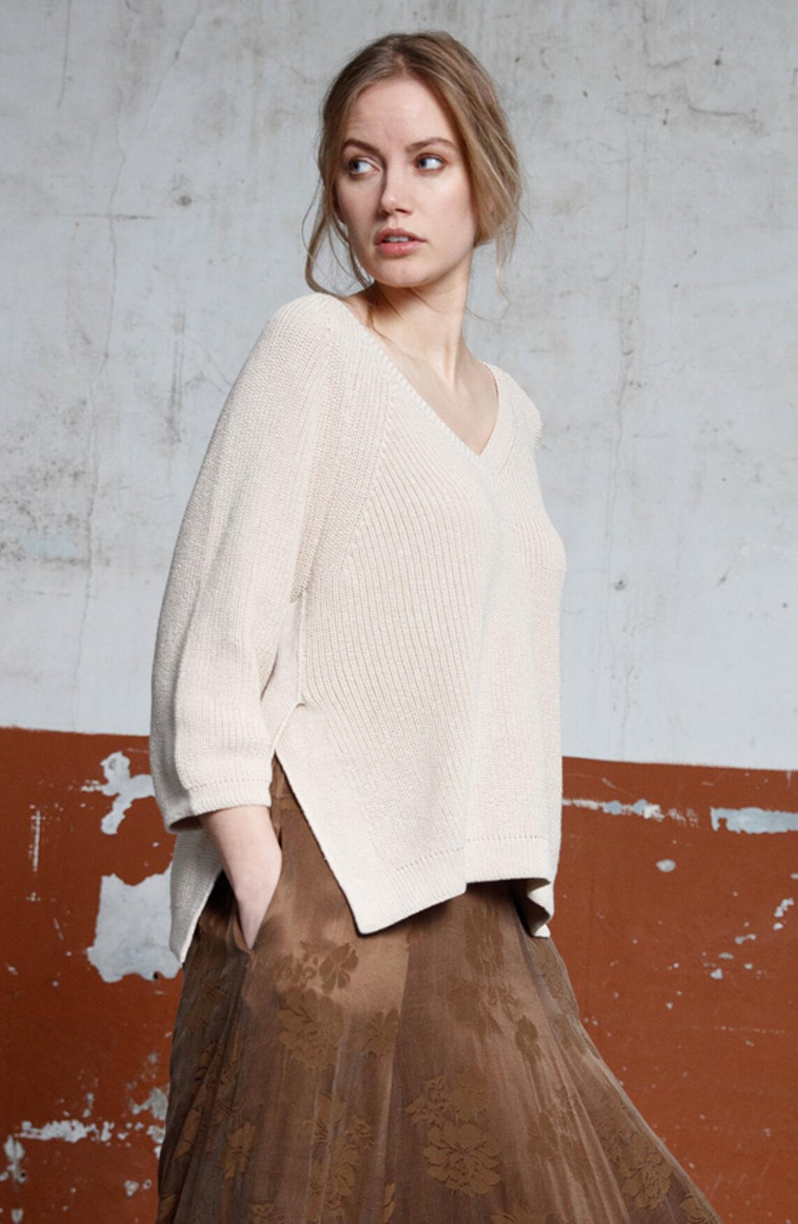 Moscow Dames Lida rib knit jumper Ecru