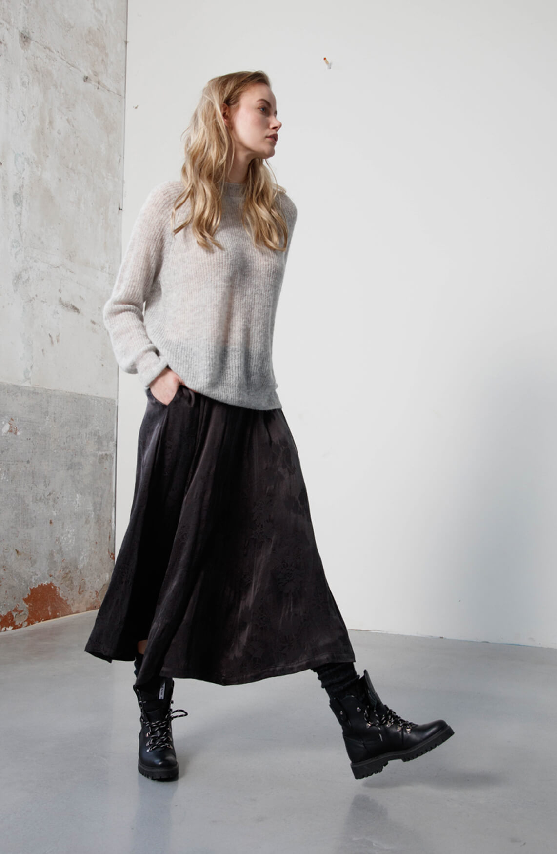 Moscow Dames Marya fine knit jumper Grijs
