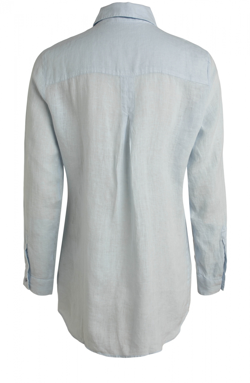 Moscow Dames Button linen blouse Blauw