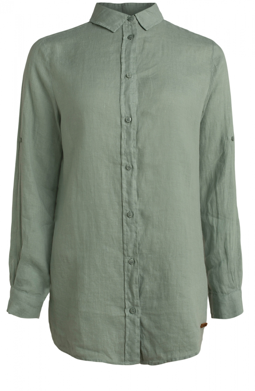 Moscow Dames Button linen blouse Groen