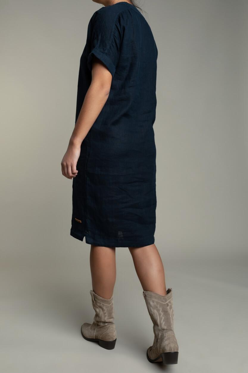 Moscow Dames Heroin linnen jurk Blauw