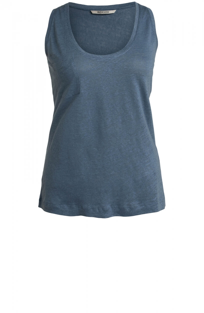 Moscow Dames Surfer linen top Blauw