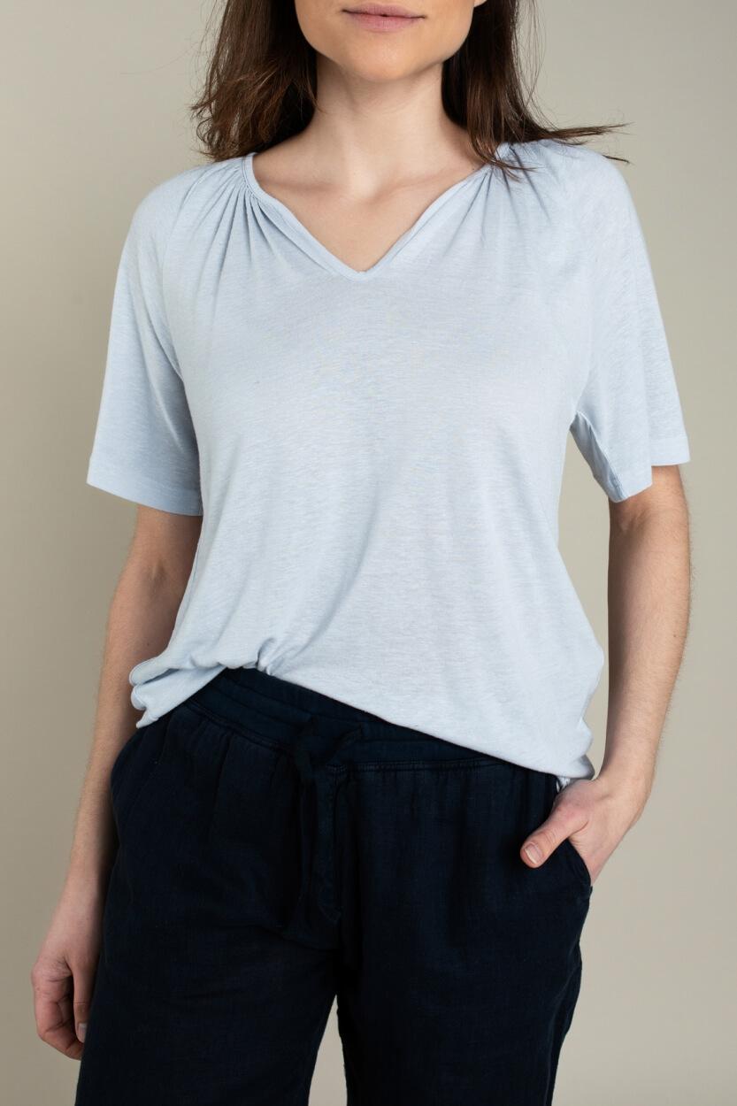 Moscow Dames Gather linnen shirt Blauw