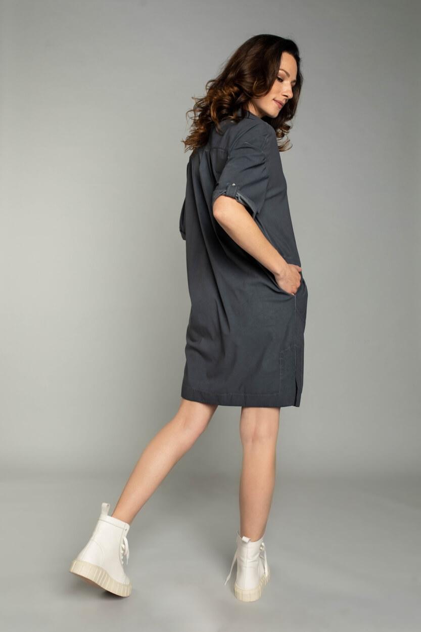 Moscow Dames Love garment dye jurk Grijs