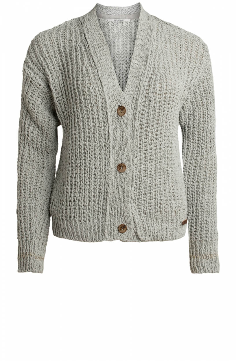 Moscow Dames Holy loose knit cardigan Grijs