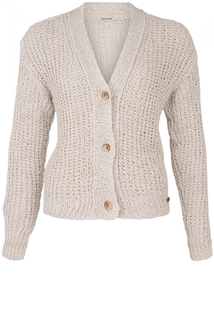 Moscow Dames Holy loose knit cardigan Wit