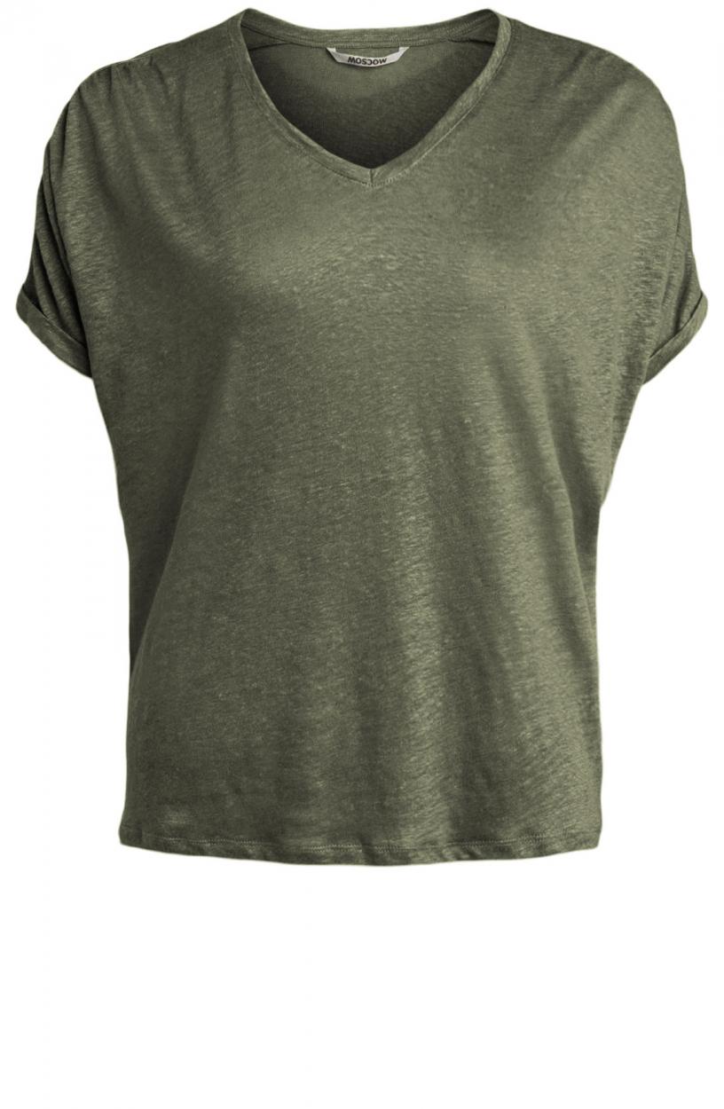 Moscow Dames Greenfield linen shirt Groen